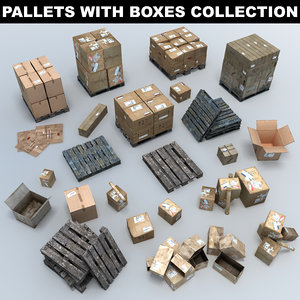 3D wooden pallets boxes
