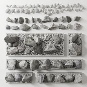 3D model flowerbed rock
