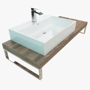 3D bathroom washbasin wash plate model