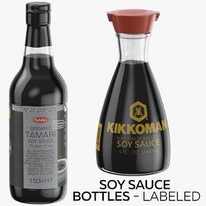 3D soy sauce bottles -