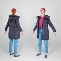 3D photogrammetry woman a-pose body character model