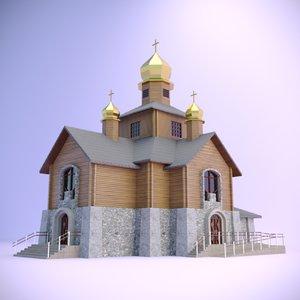 3D church wooden log house