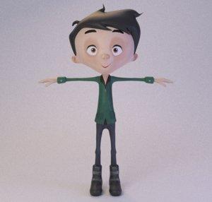 3D cartoon character rig model