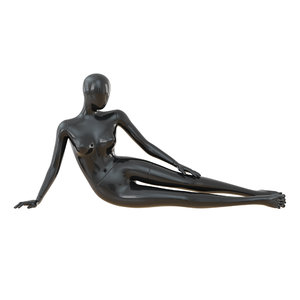 3D black female mannequin lying model