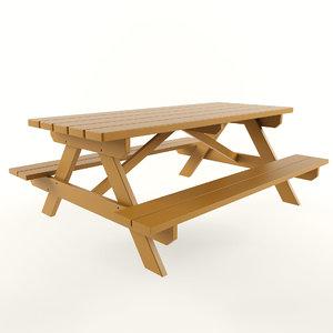 3D picnic table model
