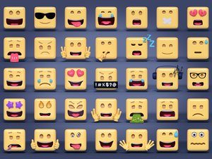 3D square emoticons