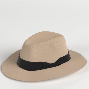 fedora panama hat 3D model
