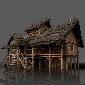 medieval wooden house building fantasy model