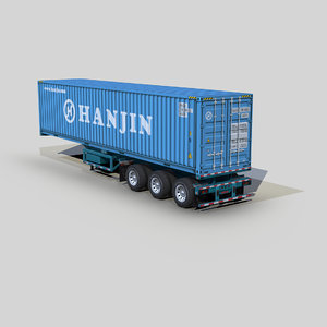 container 40ft chassis trailer 3D model