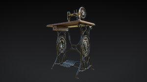 3D old sewing machine vintage