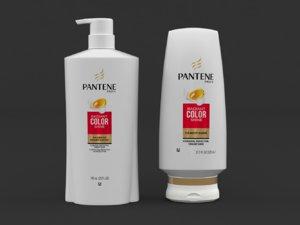3D pantene shampoo conditioner model