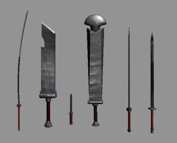 sword set dagger 3D model