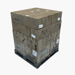 3D wooden pallet stacked boxes model