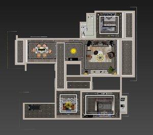 interior apartment house bedroom model