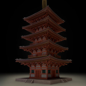 3D japanese historic building-five-storied pagoda