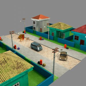 modular city neighborhood 3D model