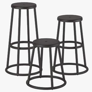3D zeus industrial stool - model