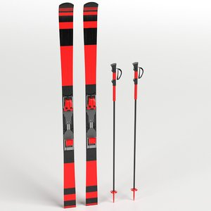 alpine skis poles 3D model