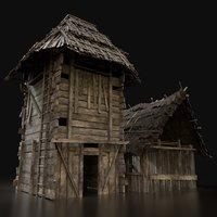 3D gen wooden silo storage model