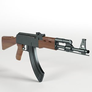ak-47 kalashnikov assault rifle 3d model