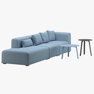 3D model sofa 45 tables