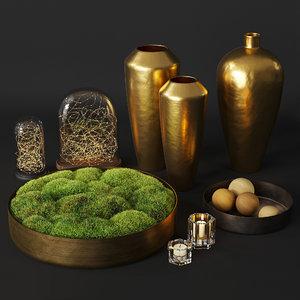 3D moss settings vase