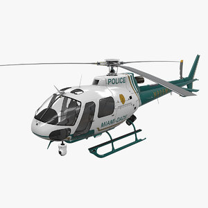 3D helicopter as-350 miami dade model