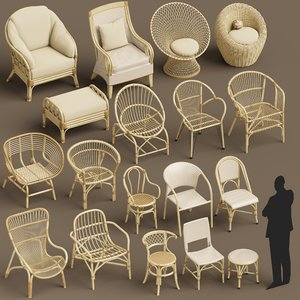wicker set seats 3D model