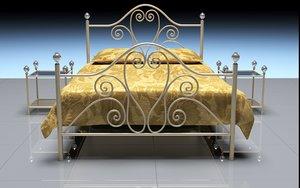 3D steel double bed model