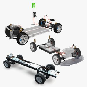 electric chassis car 3D model