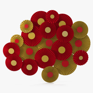 red gold paper fans 3D