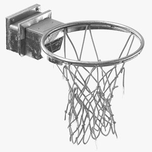 3D basketball net ripped silver model