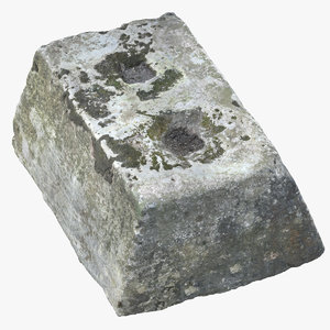 3D model old concrete block 03