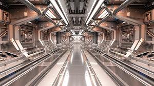 3D sci-fi modular corridor model