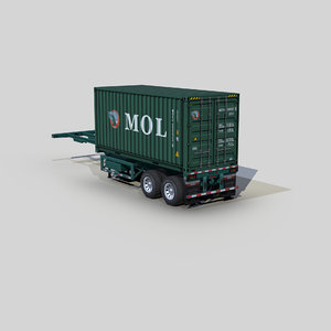 container 20ft chassis trailer 3D model