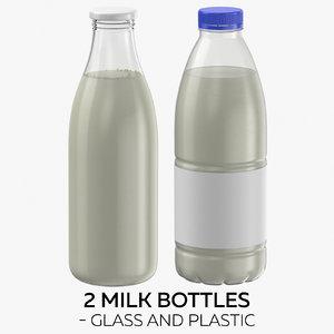 3D 2 milk bottles -