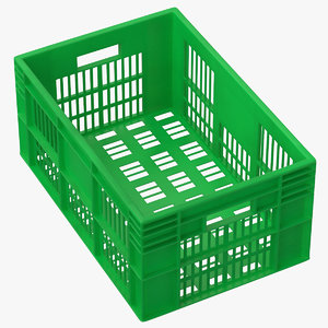 3D plastic crate green model