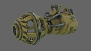 3D scifi scrapgun pbr rigged