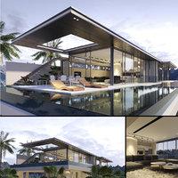 crescent villa architecture 3D model