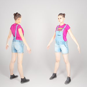photogrammetry young woman a-pose 3D model