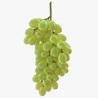 3D cluster green grapes model