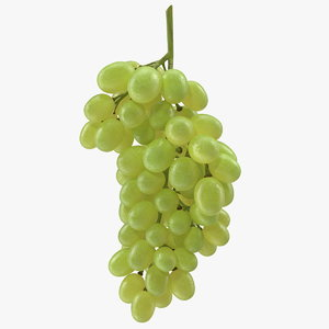 3D cluster green grapes model