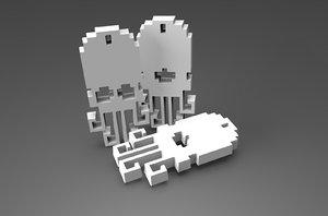 3D retro keychains model