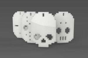 simple retro keychains 3D model