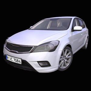 3D generic european hatchback interior car model