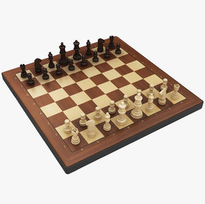 3D model chess board elements