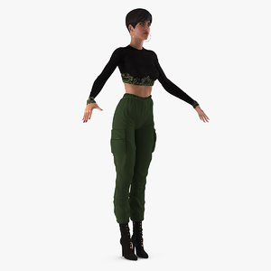 woman casual street clothes 3D model