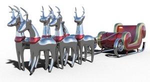 3D model santa claus sleigh reindeer