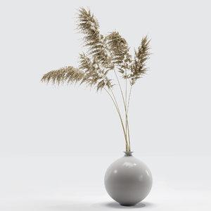 3D dry flower vase