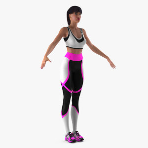 3D woman sportswear t-pose sporting